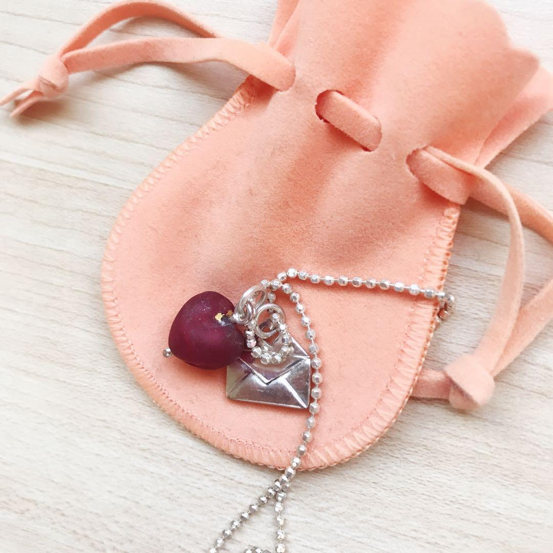 Folli Follie silver LOVE leather glass heart necklace
