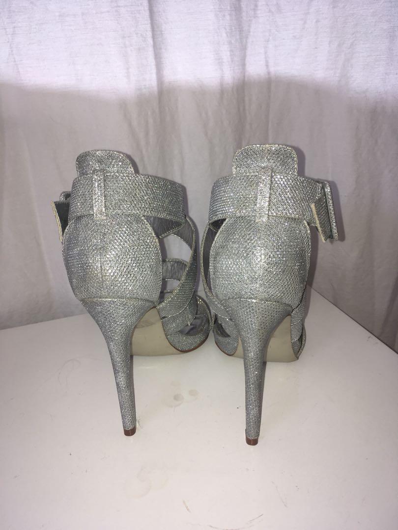 Glittery silver stilettos