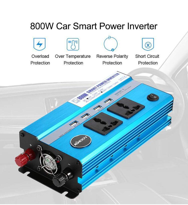 KKmoon 800W Power Inverters DC 12V to AC 220V 50Hz Transformer Car Power Inverter with 4 USB Ports 2 AC Outlets