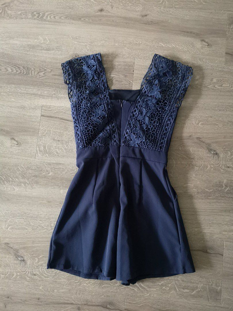 07dd7c0a31c3 Lovet.sg navy blue lace romper
