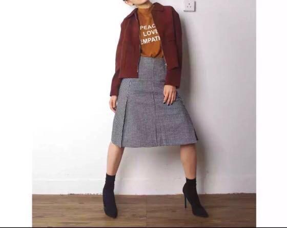 Made In Korea 韓國品牌 THE OPEN 千鳥格 半截裙