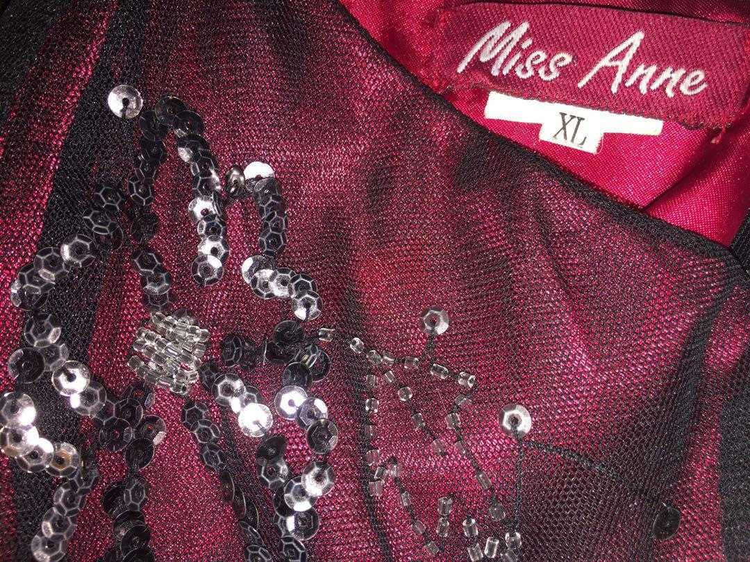 Miss Anne Gown Dress Red & Black Sequins + Tulle Net