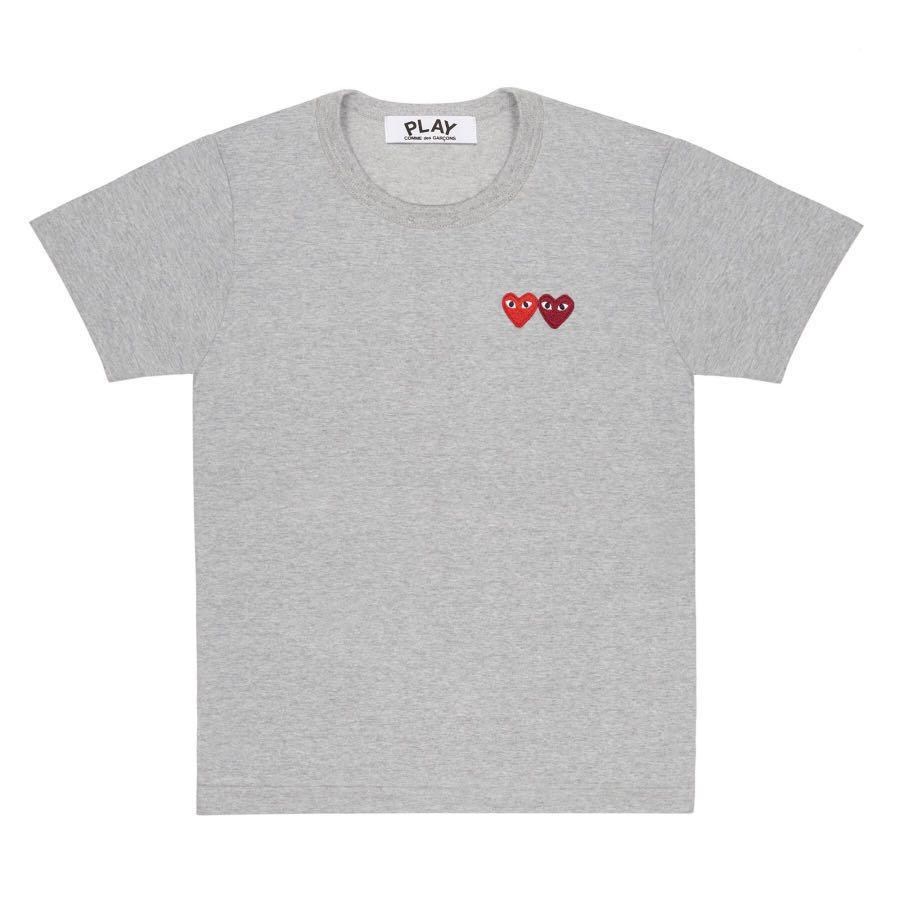 ab97e00b4599 Play Comme des Garçons T-Shirt with Double Heart (Grey), Women's ...