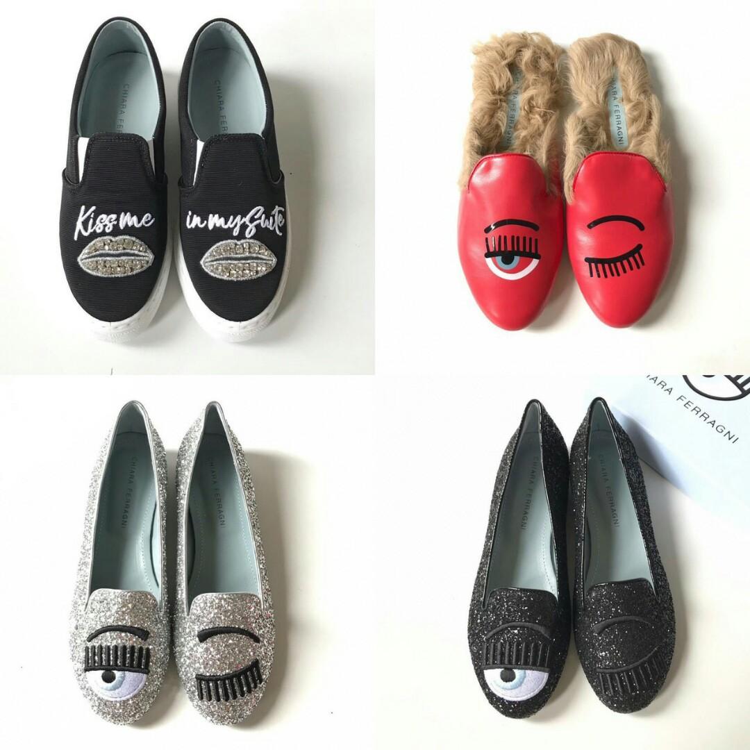 READY SALE  CF Chiara Ferragni   • slip on kiss me size 36 39 • mules fur red size 35 39 • flat shoes silver size 36 37 • flat shoes black size 35 36 39 Complete Box