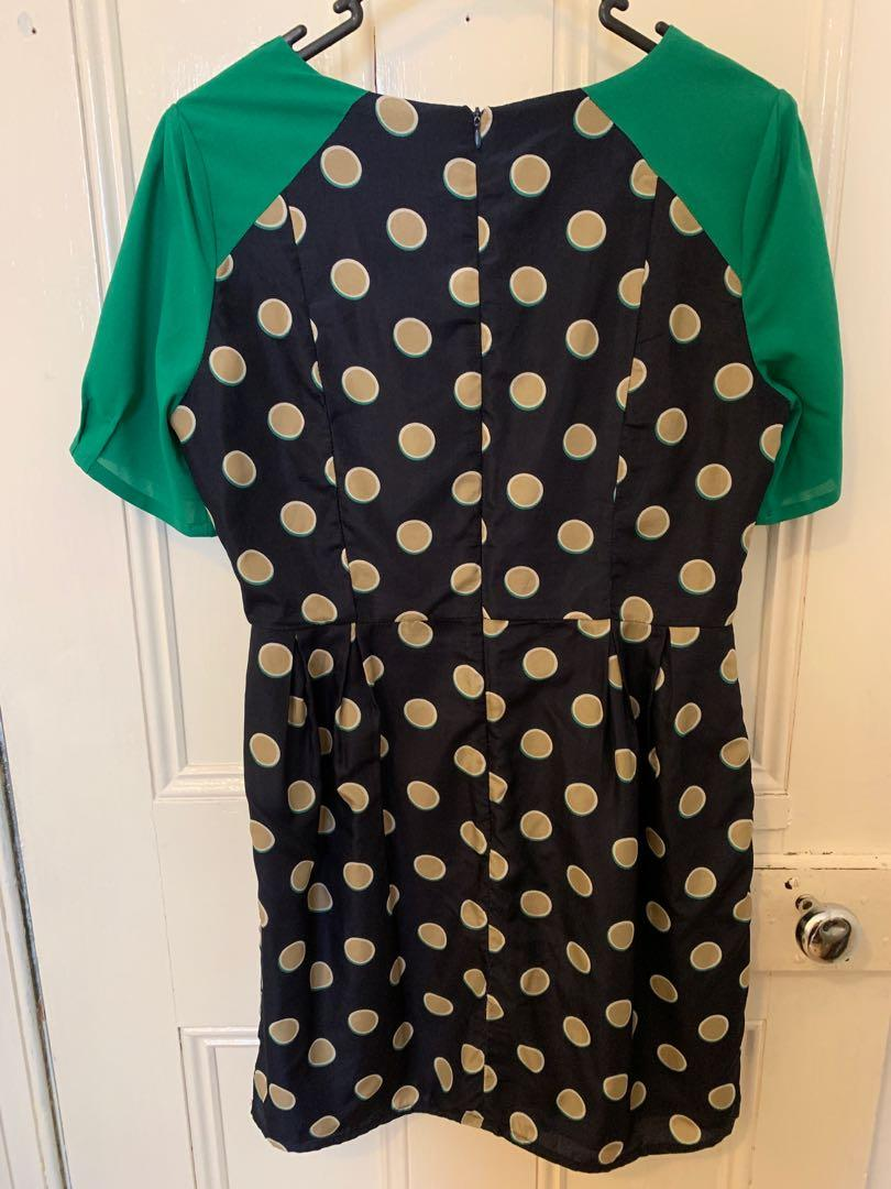 Size 12 Max C blue and green dress with gold polka dots