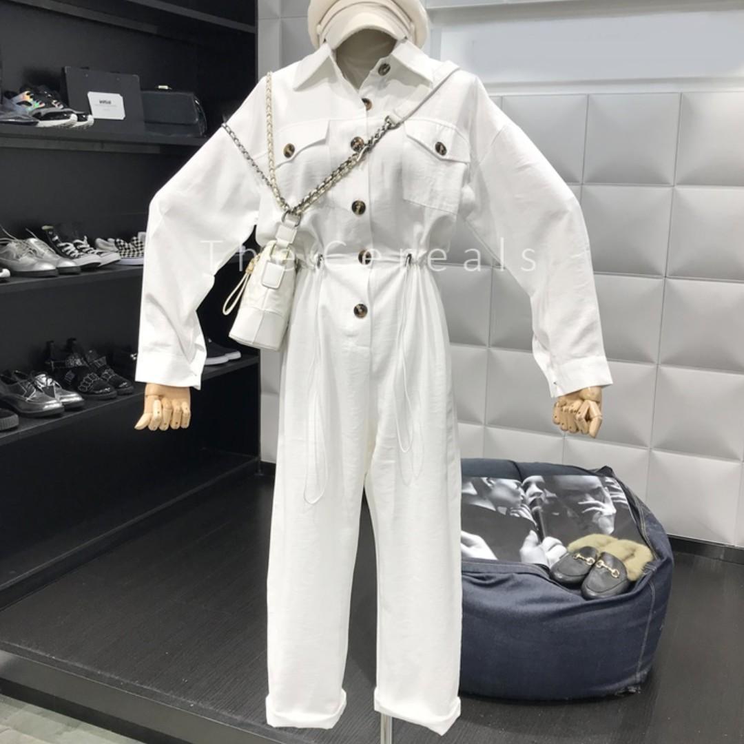 TC3397 Korea Engineer Jumpsuit (White,Black,Beige)