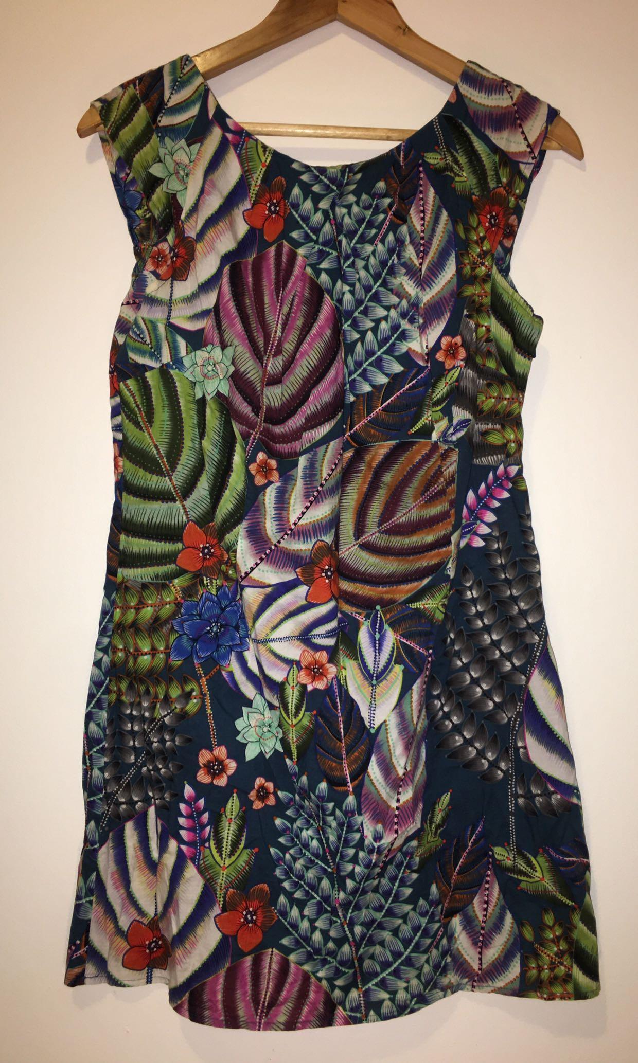 Warehouse Top Dress Green & Multi Colour Jungle Pattern