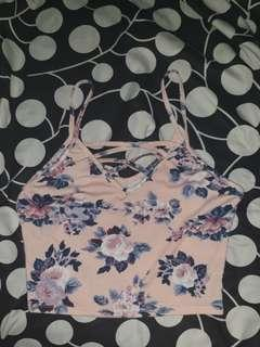Peach Floral Crop Top