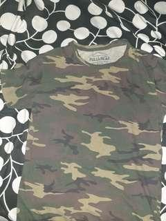Pull and Bear Camo Muscle T Shirt