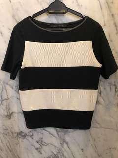 Zara Black & White Top