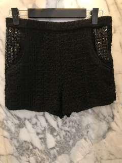 Black Tweed Shorts