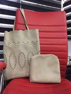Nude beige lace crochet cut out tote bag
