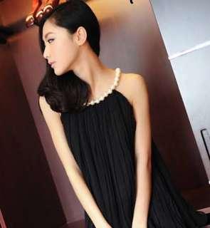layered chiffon pleated pearl strap dress