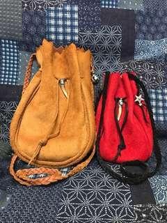 Vintage deer skin leather bag pouch navajo custom hand made 日本鹿皮巾著 藥袋 皮革袋 全人手製作 燒賣袋 非goro's