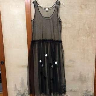 🚚 黑色球球紗裙