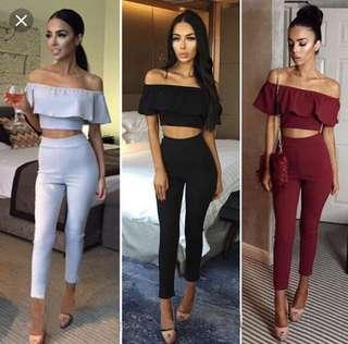 Off Shoulder 2 Piece Set Jumpsuit Slim Ruffles Bodycon