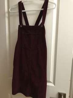 Top shop burgundy overall dress