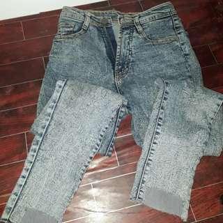 Celana HW jeans acid