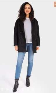 BNWT Grana Baby Alpaca Wool Blend Coat in Black