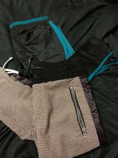 MNML Plaid & Blue stripe track pants
