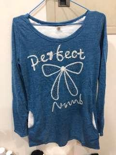 🚚 藍色蝴蝶結長袖上衣