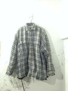 Jaket Flanel Abu2 Lapisan Dalam Bahan Wol Tebal