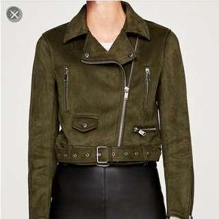 ZARA Suede Moto Jacket - Green/Olive XS