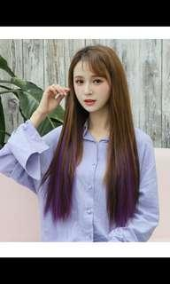 Instock light brown to purple ombre two tone gradient clip on straight hair extension  * brand new in package* chat to buy if int