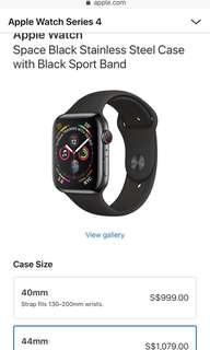 Brand New/Unopen Box - Apple Watch Series 4 - 44mm Space Black Stainless  Sports Band (GPS+CEL)