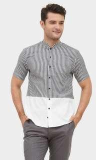 Henley shirt stripe grey sise M Indo