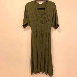 🚚 墨綠色 短袖洋裝