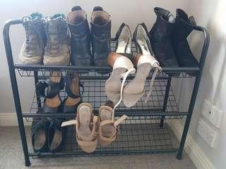 Black 3 tier shoe rack