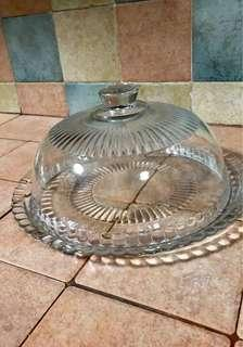 Anchor Hocking Flat Cake Plate with Dome Lid