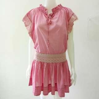 Lacy cotton drawstring pink Mango dress