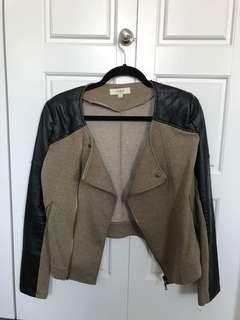 Jacket with leather accent