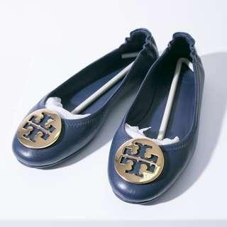 REPRICE Tory Burch Minnie Travel Flat Flat Shoes Ink Navy 7M Authentic