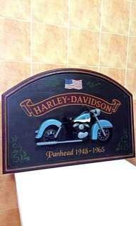 🚚 Vintage Harley Davidson Pub Sign ( Panhead 1948 - 1965 ) Hand Painted and Hand Made In USA, total of 4 different design, this item is very rare.
