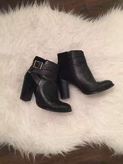 Topshop Leather Ankle Booties | Black, 6.5