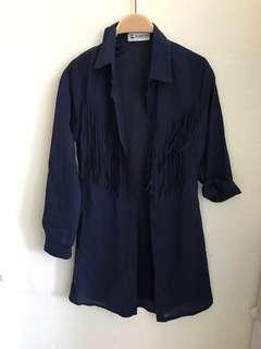 🚚 Brand new HVV hervelvetvase navy blue suede tassel outerwear jacket Long sleeve TOP