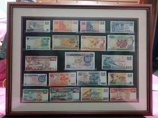 Singapore currency 3series orchid,bird,ship