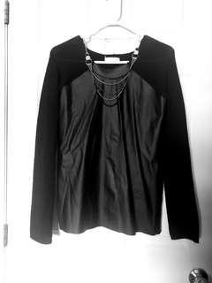 Black Longsleeves with Faux Leather