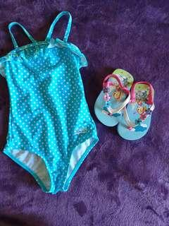 Summer Baby Clothes Set 5 Bathing Suit Slippers