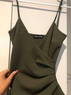 PLT wrap midi dress olive green