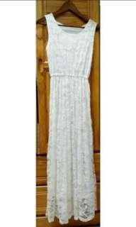 白 蕾絲 連身 長洋裝 氣質