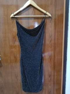 Dress glitter layer black h&m