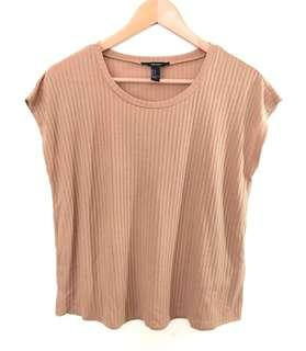 F21 Brown Ribbed Blouse