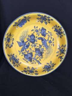 Ming dynasty Blue n yellow plate decorated with birds flowers n fruits 38cm diameter.
