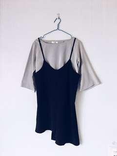 Korean Two Piece Top and Black Pinafore Irregular Dress