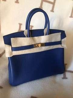 BRAND NEW Hermes Birkin 25 Blue Saphire Novillo leather Stamp C