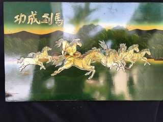 Wooden base Decor page with 8 horses 馬到成功 in sea shell frames